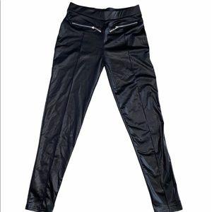 Women Faux Leather Black Leggins S/M